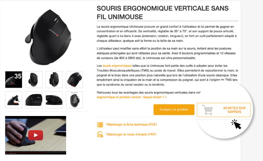 Achat en ligne de matériel ergonomique pour le poste de travail