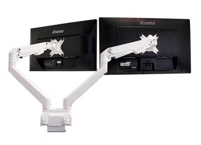 Bras support double écran - Confort visuel au travail - Hauteur idéale écran