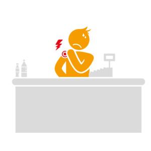 Douleurs épaules et cervicales - Caisse supermarché - Manipulation produits